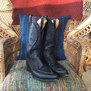 Dan Post Black Leather Whipstitch Cowboy Boots